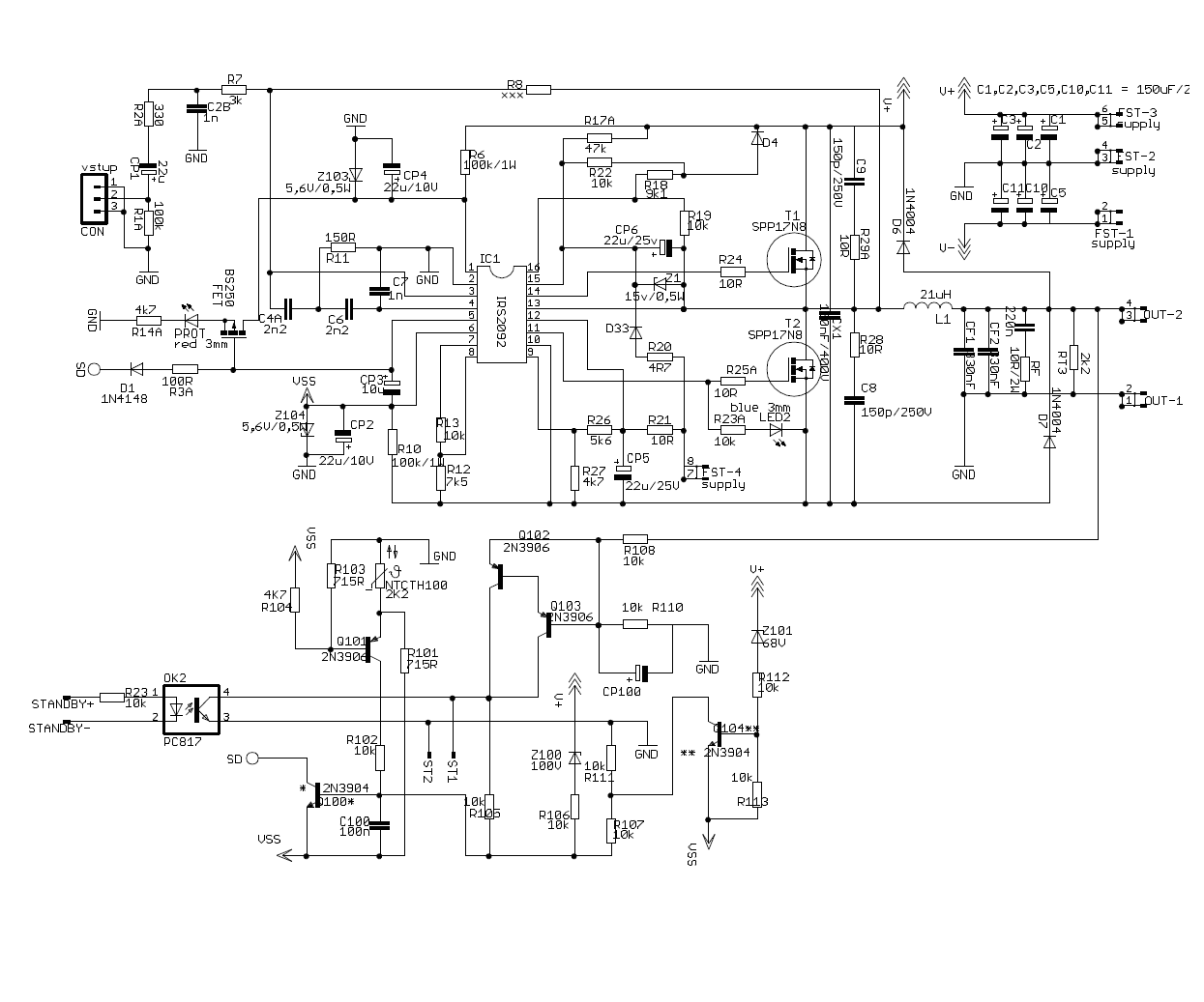 5000 Watt Amplifier Circuit Diagram Dodge 318 Electronic Ignition Conversion 400w Claas D Subwoofer Irs2092