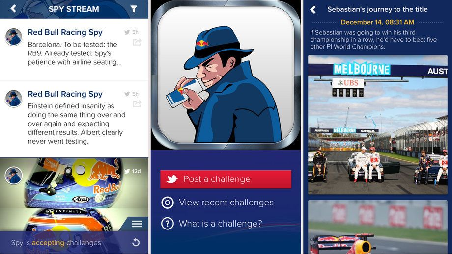 Red Bull F1 Spy App, introduced July 2013. Sponsorship,