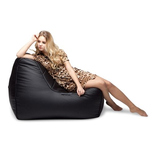 Black Leather Bean Bag Ambient Lounge