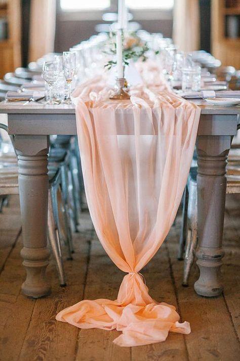 romantic chiffon table runner blush peach tablecloth d cor for rh in pinterest com