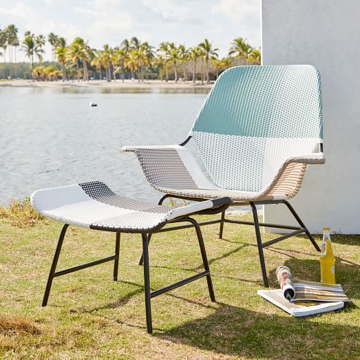 all weather wicker colorblock woven lounge chair large gray tonal rh pinterest ch