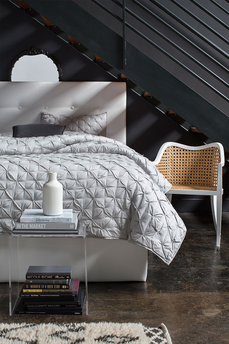 modern bedroom designs%0A This white headboard features a modern combination of sleek lines and plush  comfort  Adds a serene touch to your bedroom decor