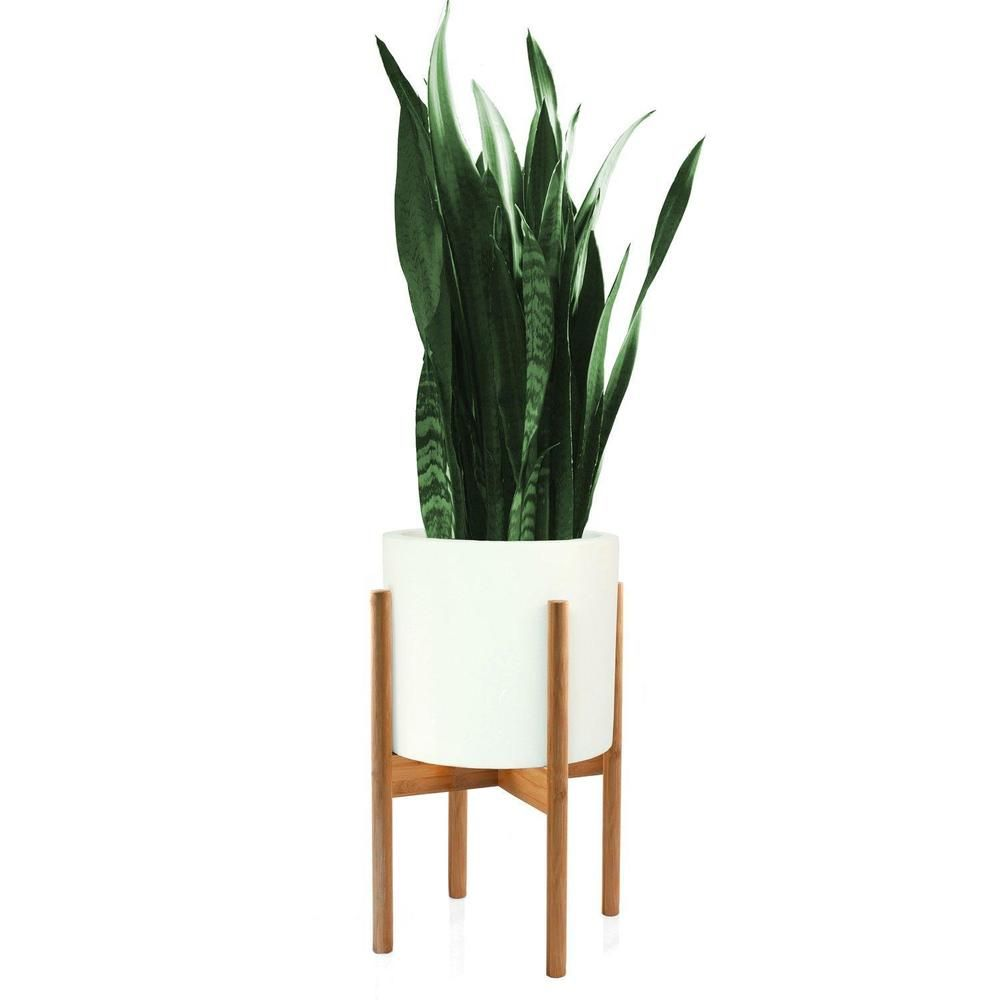 Plant Stand Modern Bamboo Excluding 10 White Ceramic Planter Pot Afflink Mid Century Modern Plant Stand White Ceramic Planter Modern Plant Stand