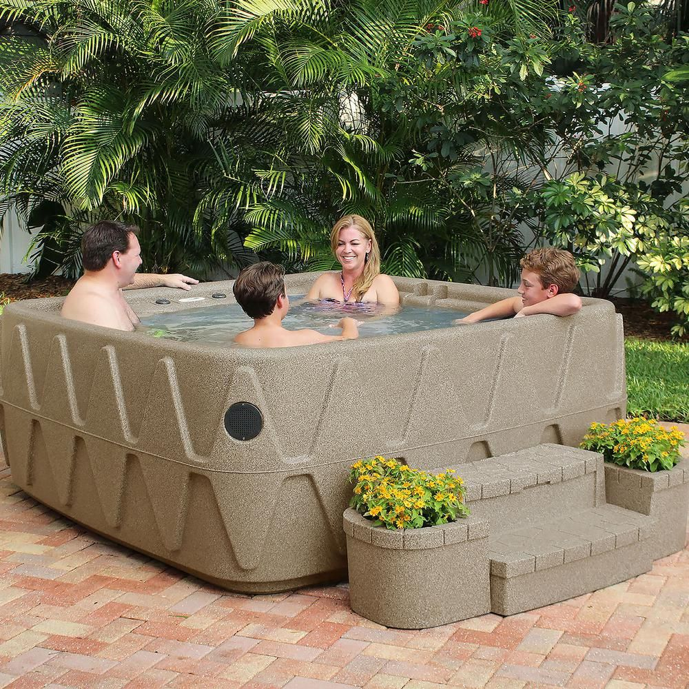 Aquarest Spas Elite 500 5 Person Plug And Play Lounger Hot Tub With 29 Stainless Jets Ozone And Led Waterfall In Brownstone Tub Outdoor Cover Outdoor