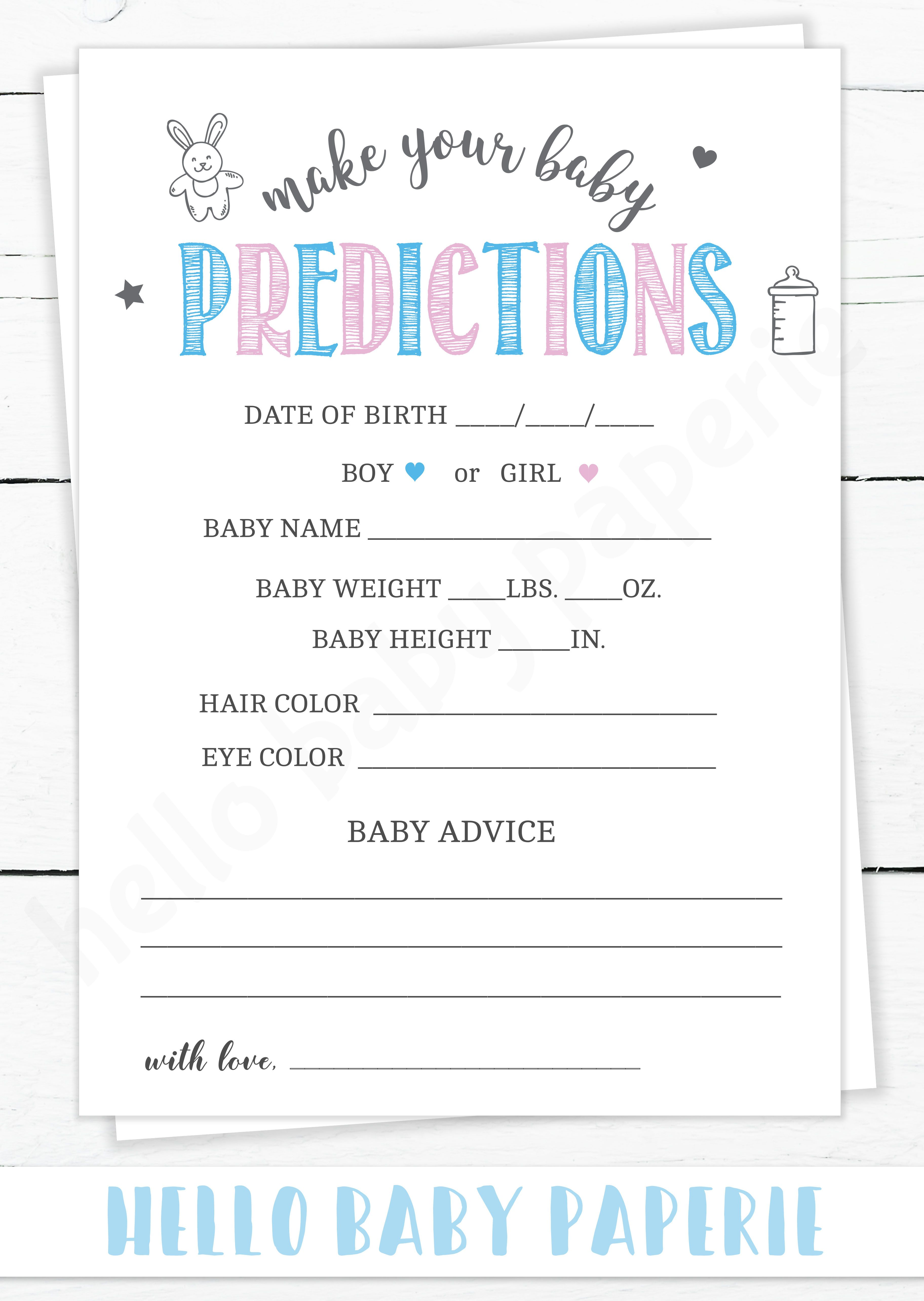 Pink And Blue Baby Predictions Template Gender Reveal Party Games Gender Reveal Games Gender Reveal Activities