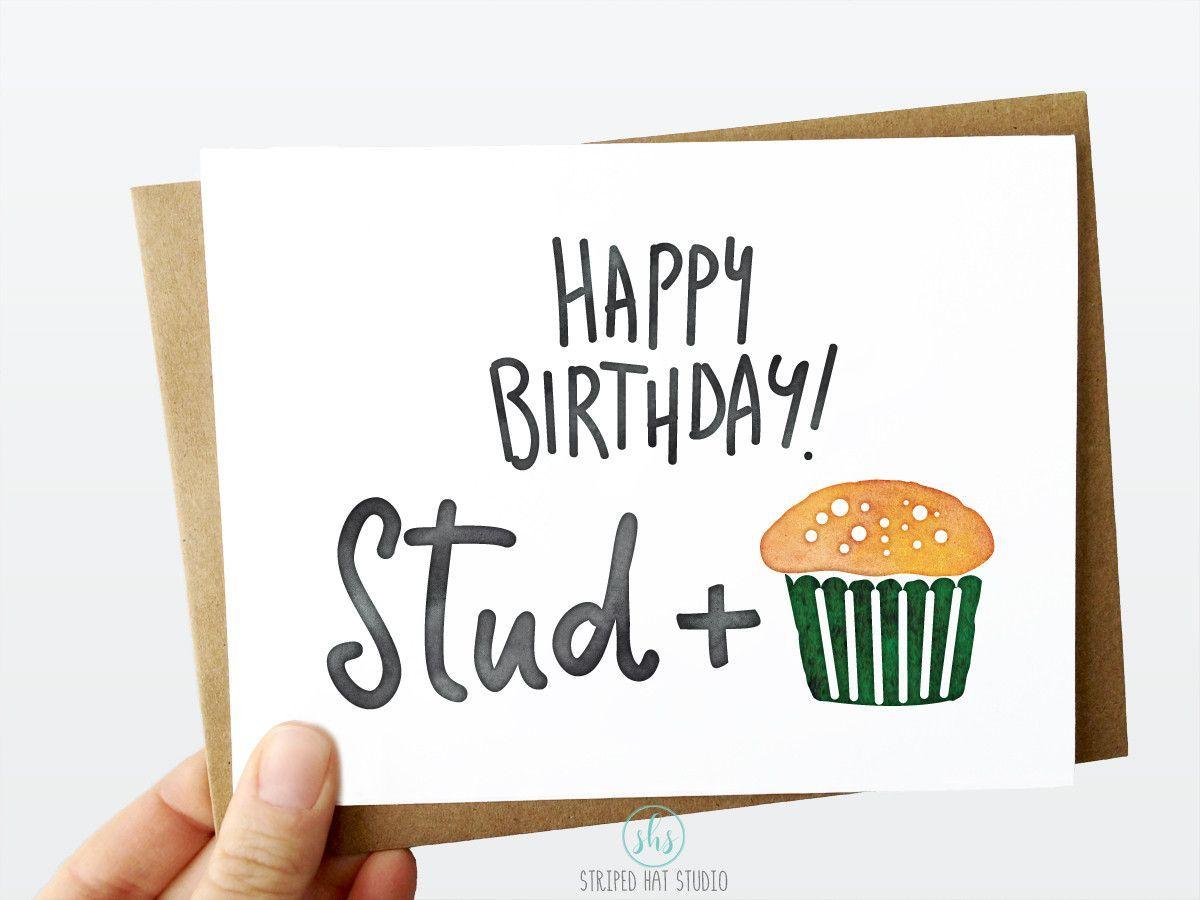 Happy Birthday Stud Muffin 5x7 Greeting Card Funny