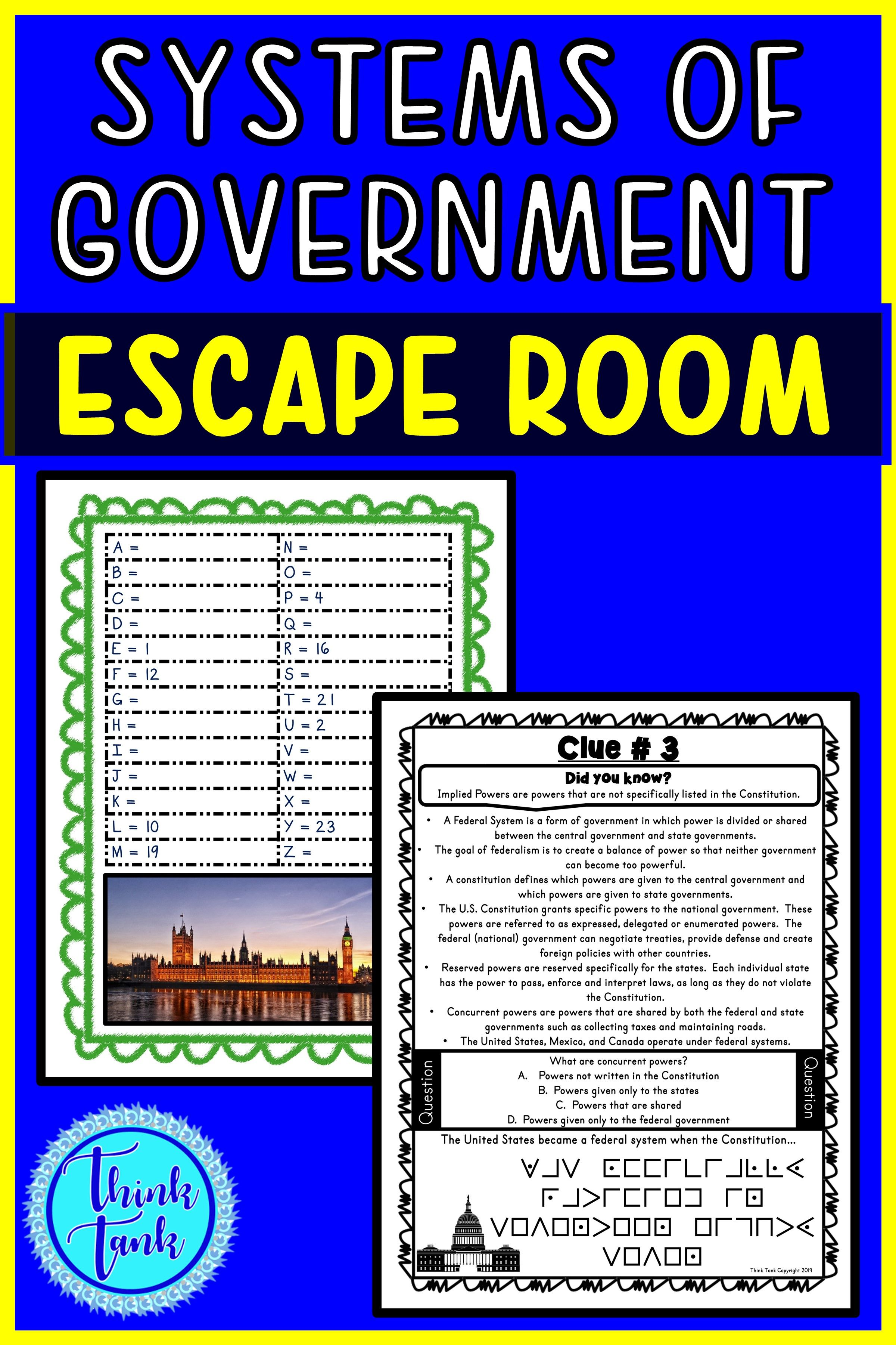Systems Of Government Escape Room Unitary Federal