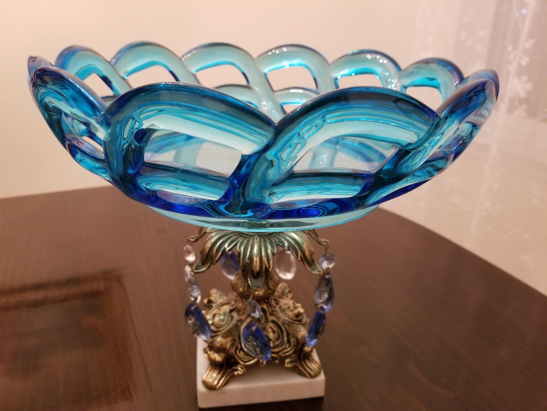 murano glass bowl centerpiece italian baroque style pedestal rh pinterest com