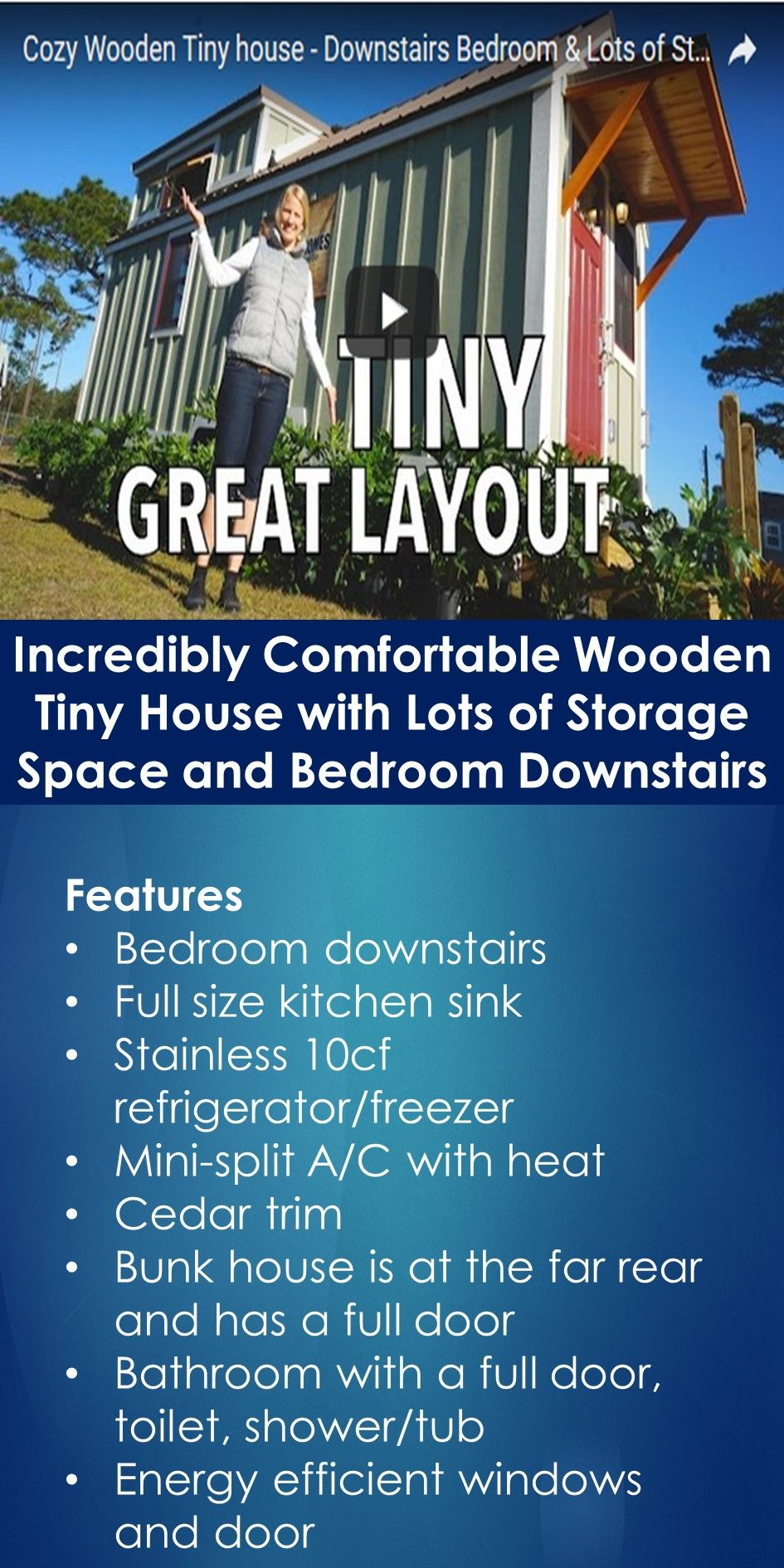 Incredibly Comfortable Wooden Tiny House with Lots of Storage Space and Bedroom Downstairs   In This Guide, You Will Learn The Following; Tiny House On Wheels With Bedroom Downstairs, Tiny House With Bedroom And Loft, Tiny House Plans With Bedroom On Main Floor, Loftless Tiny House, 3 Bedroom Tiny House Floor Plans, Tiny House Bed Under Kitchen, Tiny House Plans Without Loft, One Level Tiny House On Wheels, Etc.