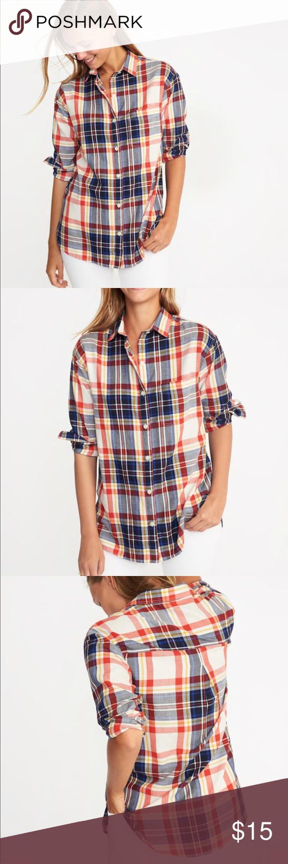 Flannel shirt women   Old Navy Womens Boyfriend Plaid Flannel Shirt  Navy women Plaid