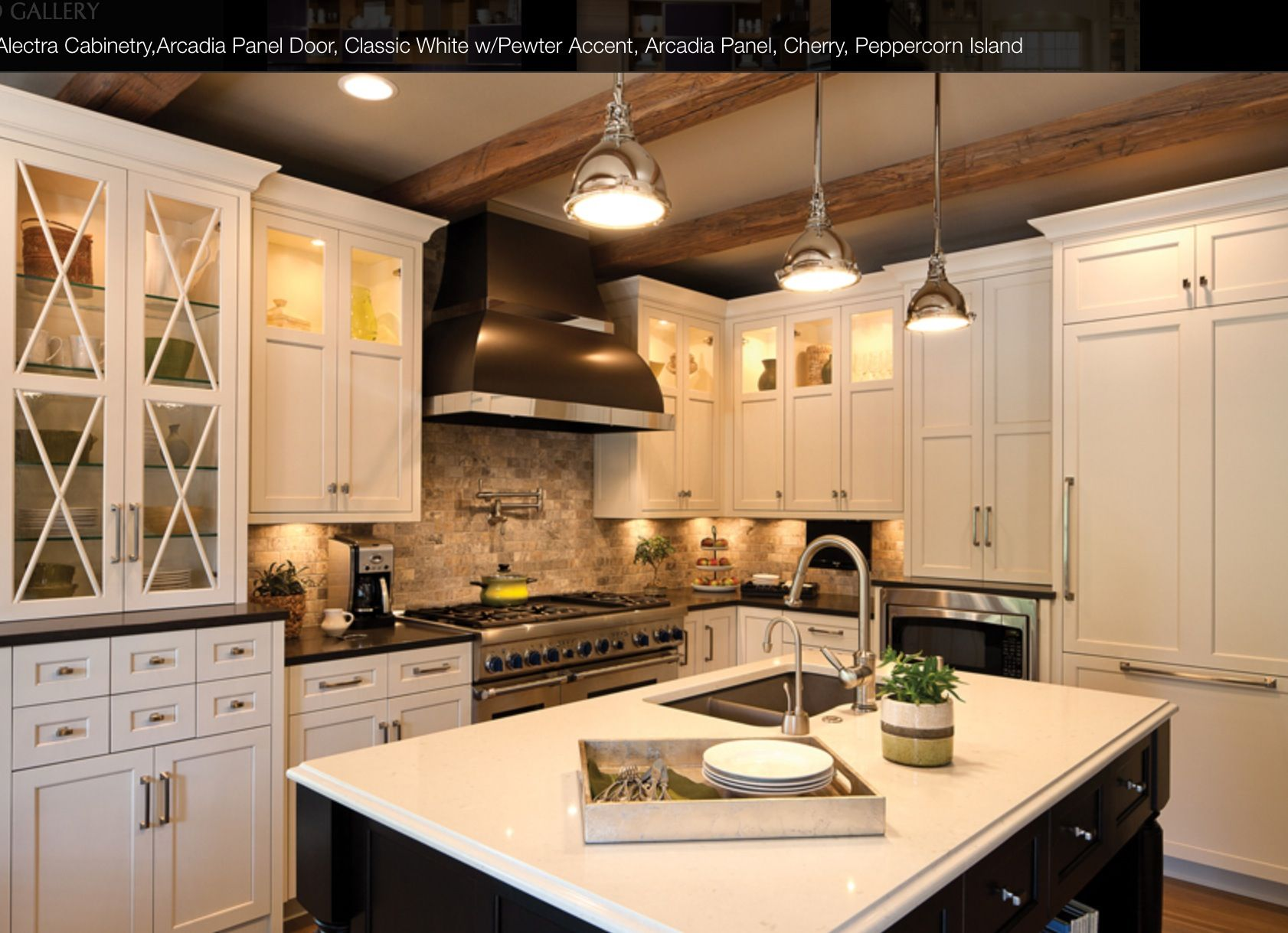 Kitchens White shaker cabinets with Black center