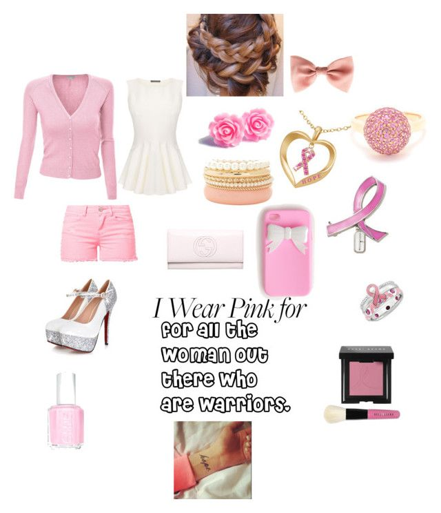 wear pink for cancer awareness month on October by irissalmeron on Polyvore featuring polyvore, moda, style, Doublju, Alexander McQueen, MKT studio, Gucci, Carolina Bucci, Charlotte Russe, Clinique, Bobbi Brown Cosmetics and Essie