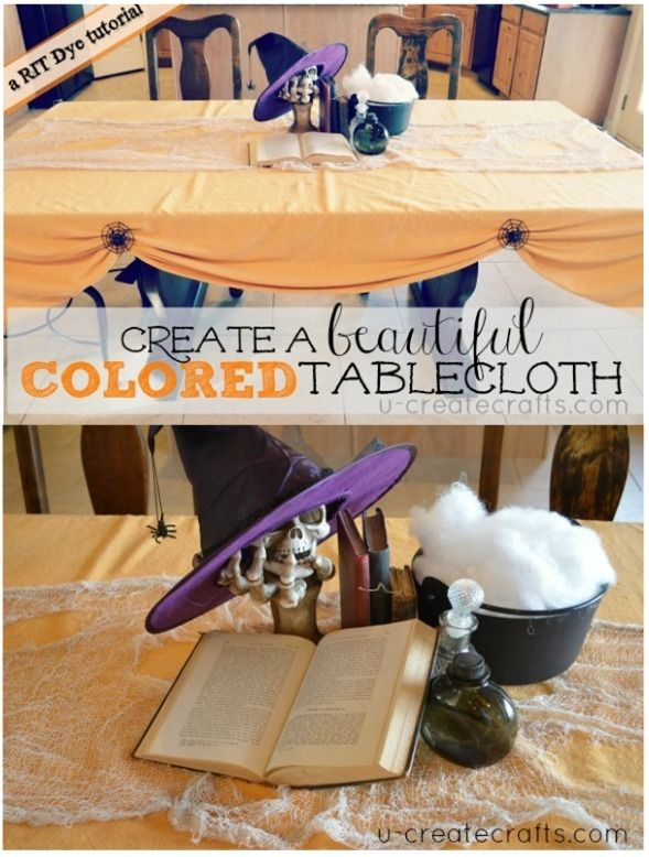 Drop Cloth Tablecloth Tutorial using Rit Dyeperfect when you want - halloween desk decorations