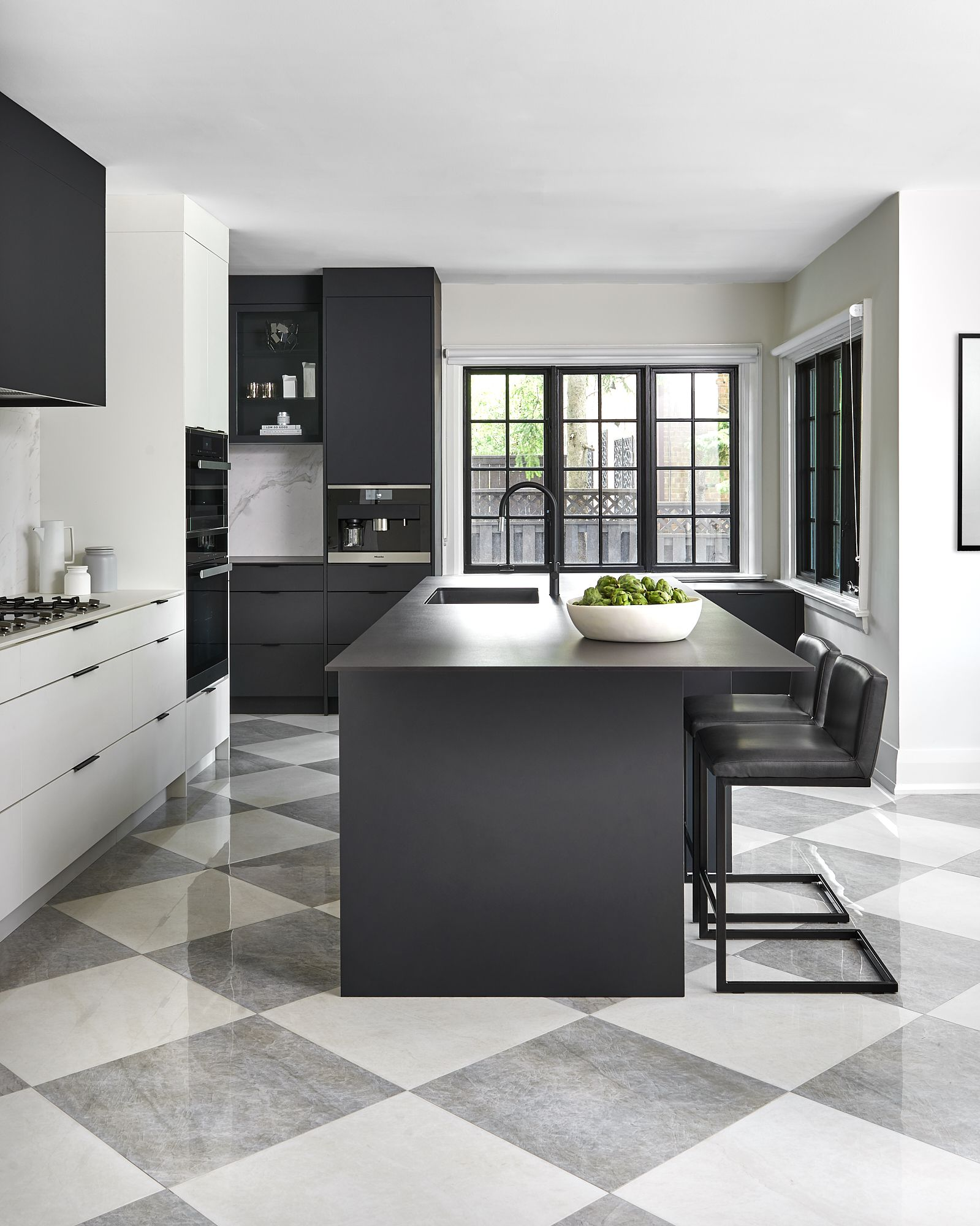 Black And White Kitchen With Checkered Flooring White Tile