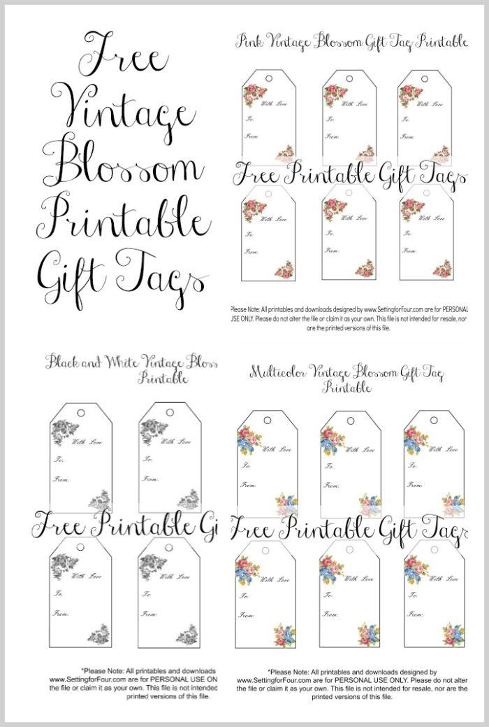 vintage blossom free printable gift tags printables free rh pinterest com
