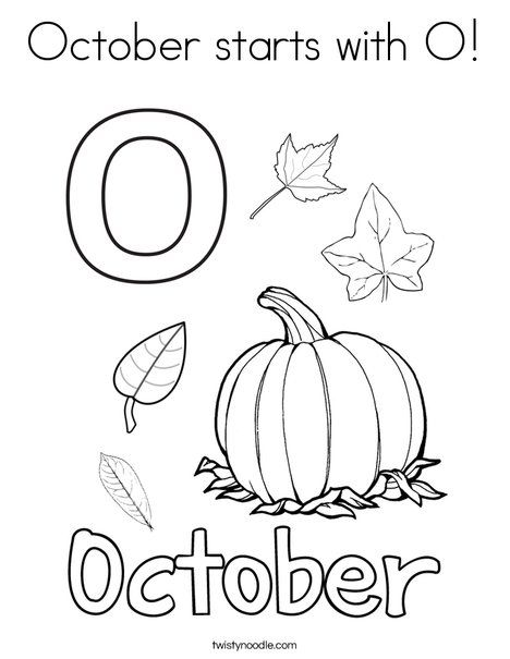 October starts with O Coloring Page - Twisty Noodle | Fall ...