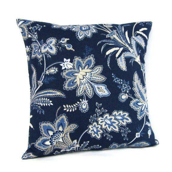 Navy Throw Pillow Blue Fl Cover