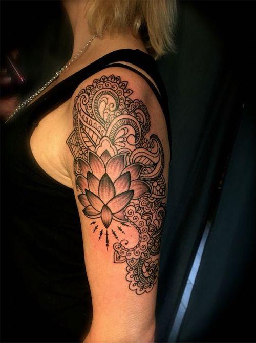 Girls Upper Arm Tattoos : girls, upper, tattoos, Magnificent, Henna, Flower, Tattoos, Upper, Girls, Women, Upper,, Women,