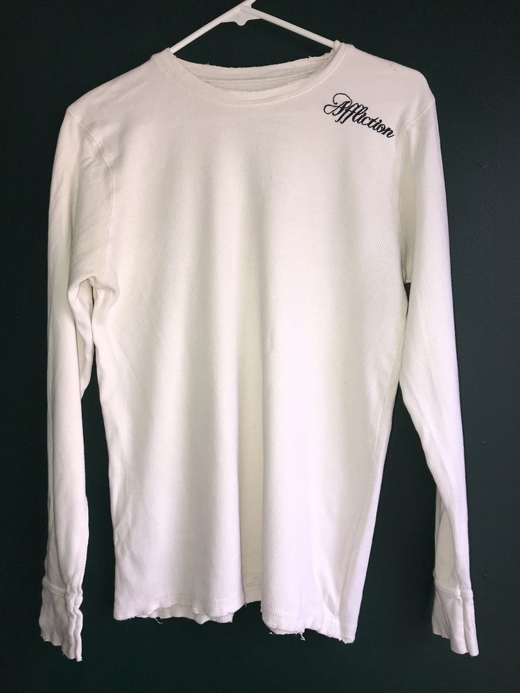f5d84e00ff4 Affliction Distressed Long Sleeve Thermal Shirt White mens medium #fashion # clothing #shoes #