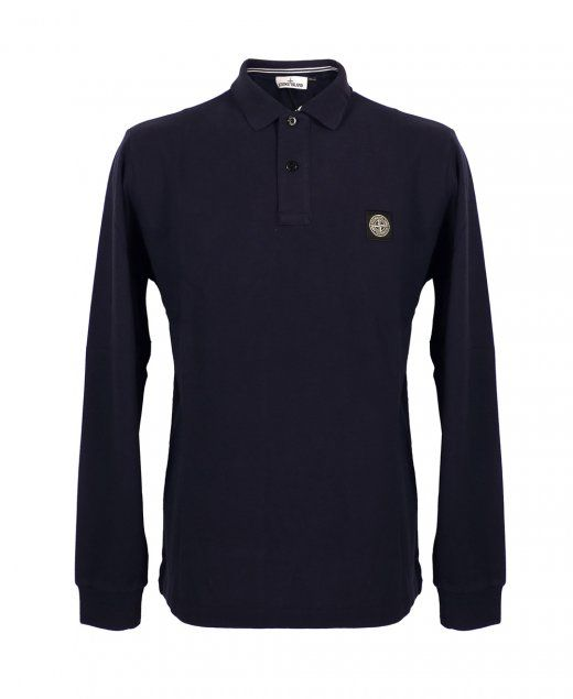 Stone Island Navy LogoSleeve Polo Ribbed collar Two button placket Stone Island badge on chest Vent cuts in sides of bottom hem Ribbing at cuff edges Fabric composition: 100% cotton £95