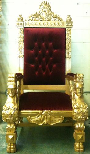 XL GOLD KING CHAIR THRONE GOTHIC QUEEN ALL WOOD HANDMADE FURNITURE