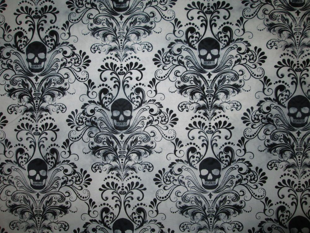 SKULLS FANCY SUGAR SKULL BAROQUE BLACK COTTON FABRIC BTHY