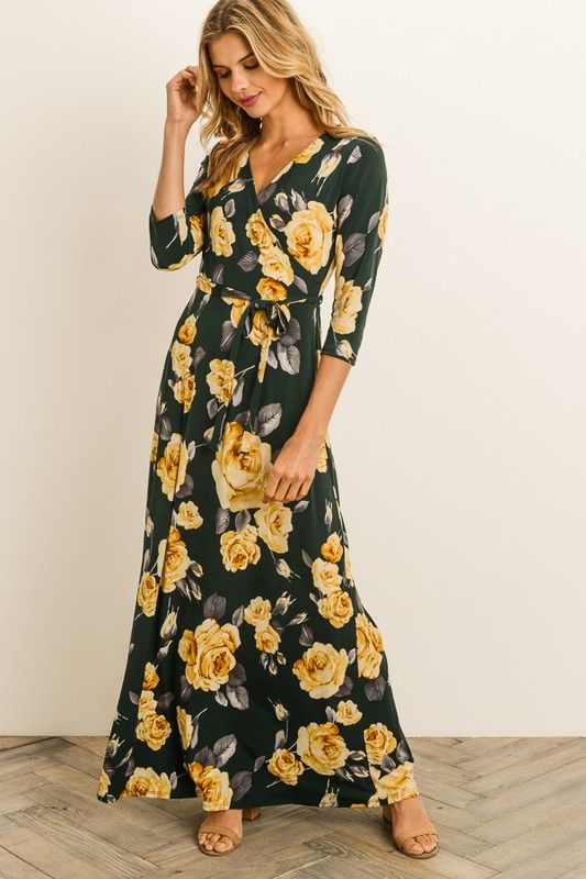 29a2ba65bff Yellow Rose Maxi Dress in 2019