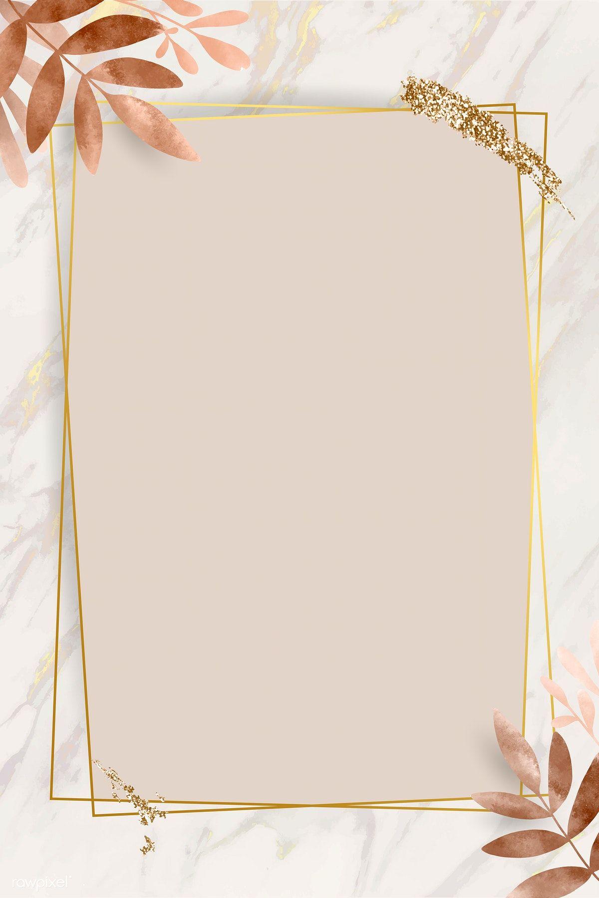 Download Premium Vector Of Leafy Golden Rectangle Frame Vector 1216964 Flower Background Wallpaper Floral Border Design Framed Wallpaper