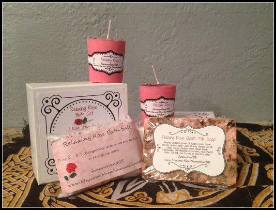 Relaxing Rose Bath Set ~ Rose Infused Votive Candles ~ Bath Salts ~ Goat Milk Soap Gift Set ~ Ritual Bath Salts ~ Relaxing Rose Scent by SummerlandBB