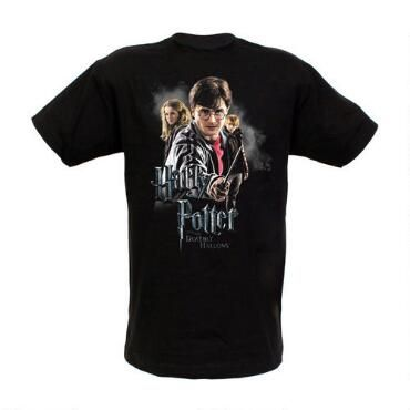 ccad6cf0 Add this Harry Potter and the Deathly Hallows Cast t-shirt to your  wardrobe! This 100% cotton black t-shirt features Harry, Hermione and Ron.