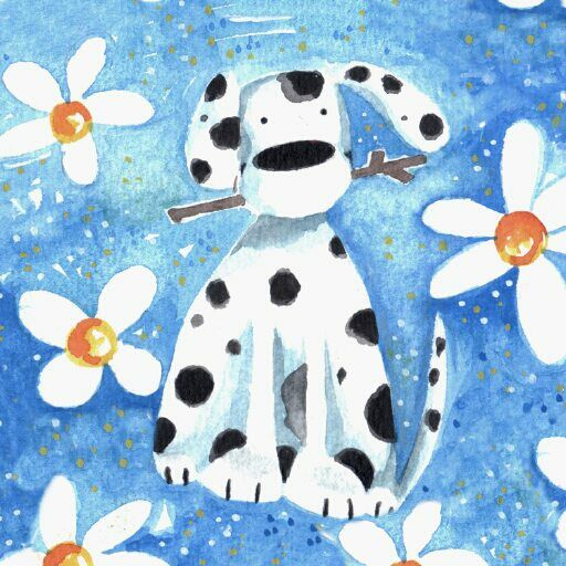 spotty dog in daisies everyday happy birthday Jane Heyes advocate-art Children's illustrator
