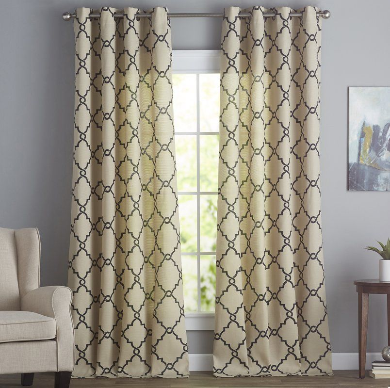 Winnett Geometric Semi Sheer Grommet Curtain Grommet Curtains