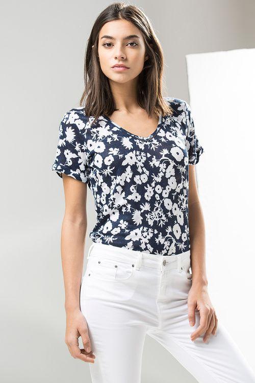 EstampadaCamisetas Camiseta Cortefiel Lino En Models De Mujer w0vO8mNn