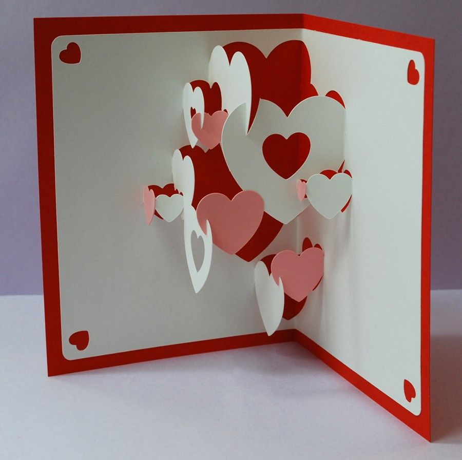 DIY Valentine Heart Collage Popup Card 10 Custom Bathtub – Pop Up Valentines Day Card