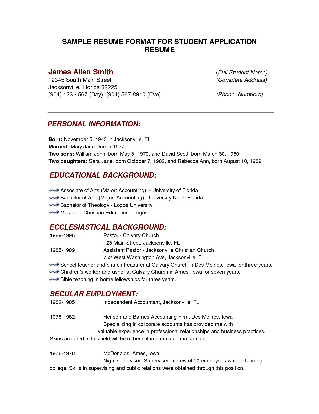 examples resumes best photos printable basic resume templates example samples word pdf - Format Of An Resume