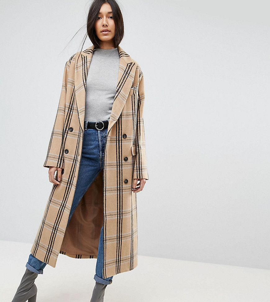 b6bff2919fe9 ASOS TALL Wool Coat in Check - Multi   Products   Coats for women ...