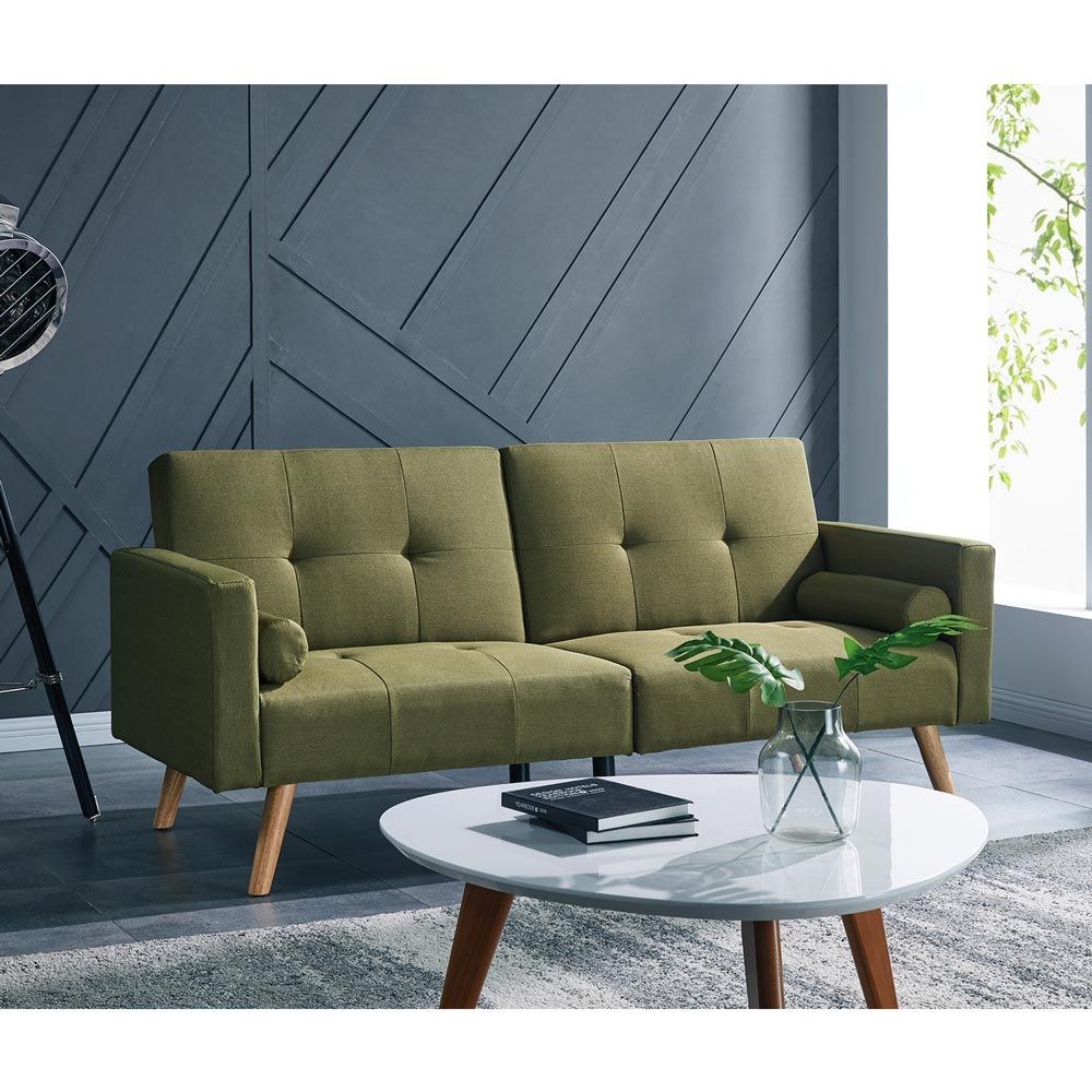 Eva 3 Seater Sofa Bed With Wooden Legs Dark Golden Olive Online Australia