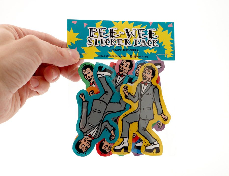 Pee wee sticker pack of 8 stickers peewee herman colorful diecut stickers by jackcard