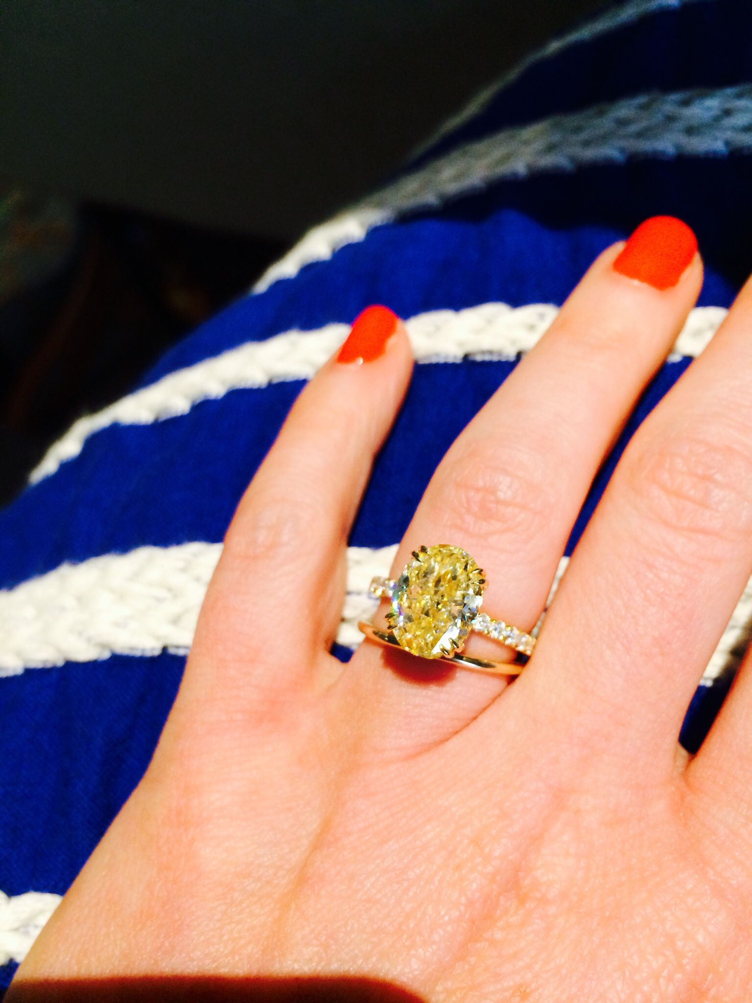 My favorite accessory Yellow diamond engagement ring Yellow