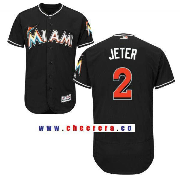 4936b1eec8e Men s Miami Marlins  2 Derek Jeter Black Alternate Stitched MLB Majestic  Flex Base Jersey