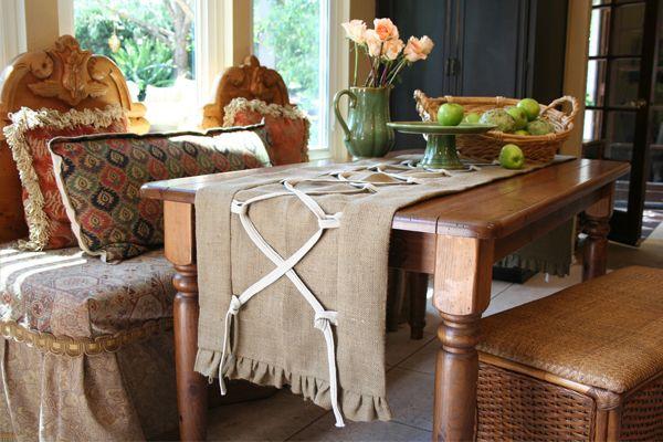neat linen table runner sort of a shoelace effect could us burlap rh pinterest com