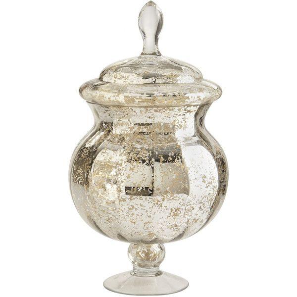 Pier 1 Imports Silver Mercury Glass Apothecary Jar Glass