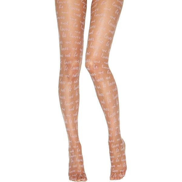 Jonathan Aston He Love Me Print Tights (16 CAD) ❤ liked on Polyvore featuring intimates, hosiery, tights, lilac, sheer stockings, patterned tights, patterned pantyhose, sheer patterned tights and jonathan aston