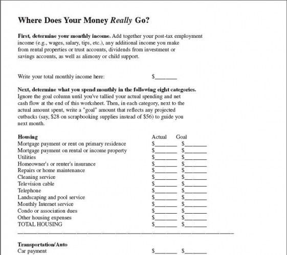 Image Detail For This Household Budget Worksheet Is Adapted From