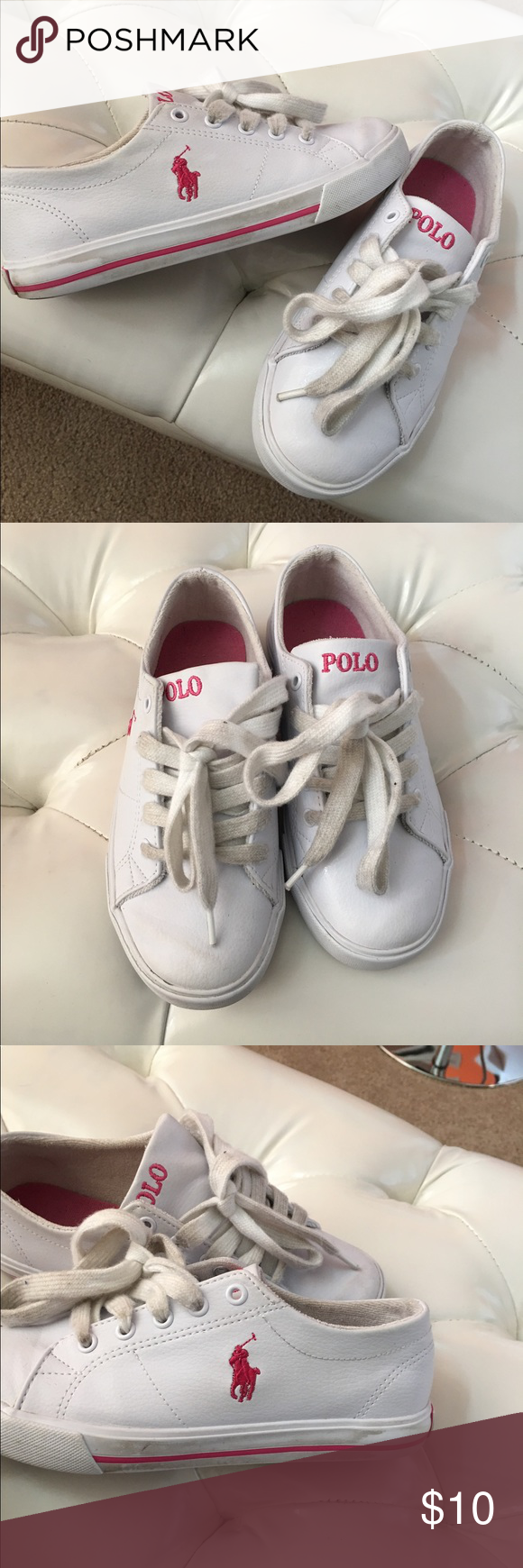 Girls Polo Shoes Girls Polo Shoes; Good Condition; everyday wear; reference pictures; size 2 Polo by Ralph Lauren Shoes Sneakers