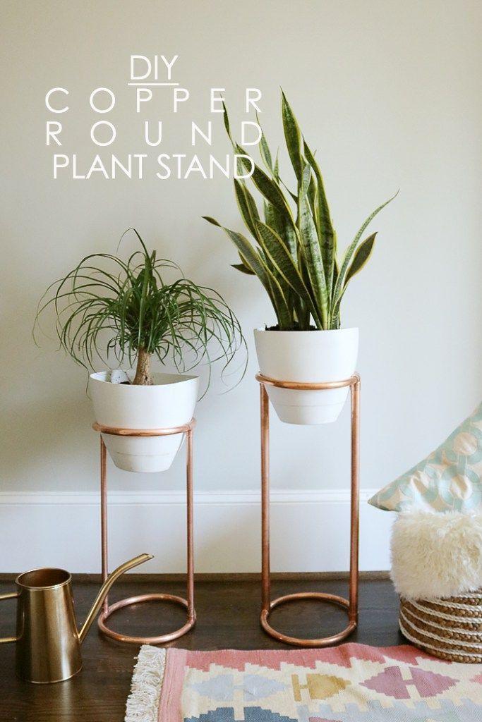 DIY Copper Round Plant Stand #diyplantstand