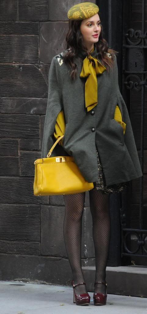 TV Styling- Blair Waldorf I love mustard yellow and grey combo!!