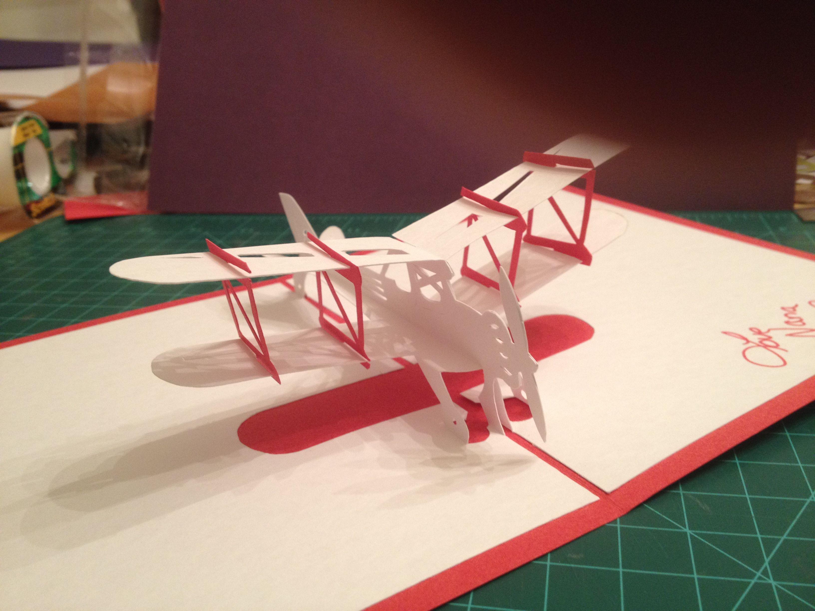 Bi Plane Pop Up Card Template From Cahier De Kirigami Moyens De