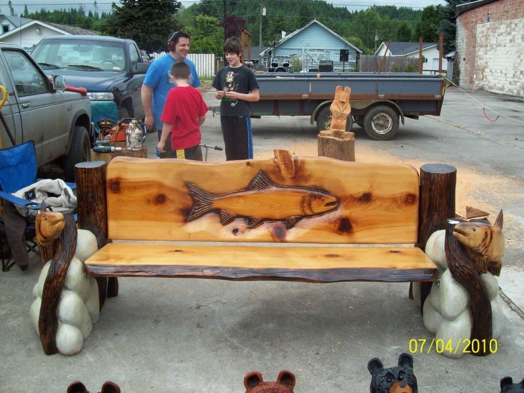 Fish bench chainsaw carving pinterest