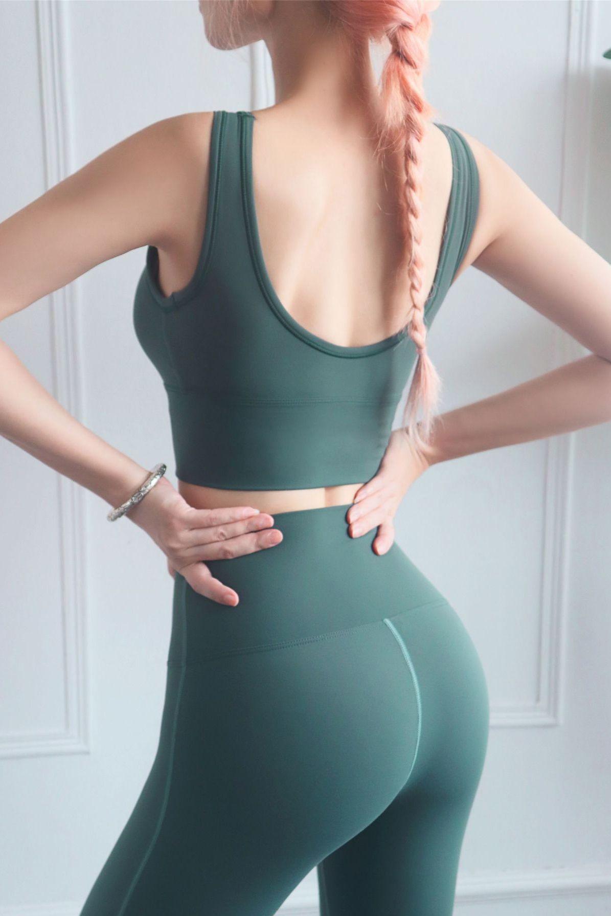 Women Darkgreen Yoga Padded Sport U Back Bra L in 2020